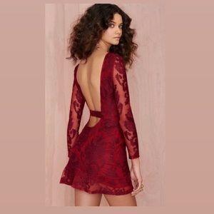 For love and lemons red backless mini dress